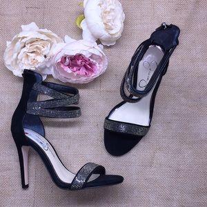 Jessica Simpson Black Rhinestone Heels 5.5M